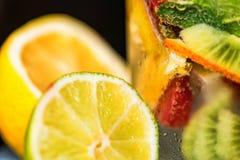 Eigengemaakte limonade met fruit en munt royalty-vrije stock foto's