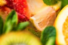 Eigengemaakte limonade met fruit en munt royalty-vrije stock foto