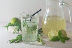 Eigengemaakte limonade van kalk en dragon Stock Foto's