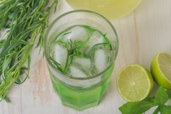 Eigengemaakte limonade van kalk en dragon Royalty-vrije Stock Afbeeldingen