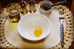 Eigengemaakte Mayonaiseingrediënten royalty-vrije stock foto