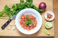 Eigengemaakte Mexicaanse de tomatensalsa van Pico de Gallo Royalty-vrije Stock Foto's