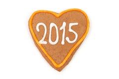 Eigengemaakte nieuwe jaarkoekjes met het aantal van 2015 Stock Foto's