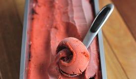 Eigengemaakte Organische het roomijslepel van het Aardbeifruit Royalty-vrije Stock Afbeeldingen