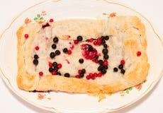 Eigengemaakte pastei op een plaat van bessen Stock Foto's