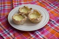 Eigengemaakte Pasteis DE nata, het dessert van Portugal Stock Afbeelding