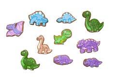 Eigengemaakte peperkoekkoekjes als grappige dinosaurussen stock foto