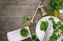 Eigengemaakte Pesto Stock Fotografie