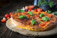 eigengemaakte pizzamargherita met mozarella, basilicum en tomaten royalty-vrije stock foto