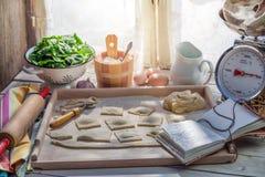 Eigengemaakte ravioli in de zonnige keuken Stock Fotografie