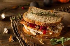 Eigengemaakte Resterende Dankzeggingssandwich Stock Foto's