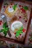 Eigengemaakte roomkaas van geit` s melk Stock Foto