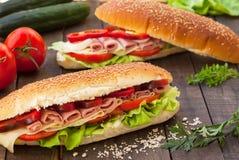 Eigengemaakte sandwiches Stock Afbeeldingen