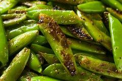 Eigengemaakte Sauteed Sugar Snap Peas Stock Fotografie