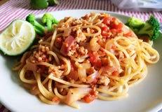 Eigengemaakte spaghetti royalty-vrije stock foto