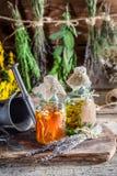 Eigengemaakte tint in flessen als eigengemaakte behandeling royalty-vrije stock afbeeldingen