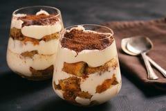 Eigengemaakte tiramisucake, Italiaans dessert royalty-vrije stock fotografie