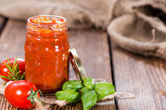 Eigengemaakte tomatensaus Royalty-vrije Stock Foto's