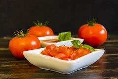 Eigengemaakte tomatensaus stock afbeelding