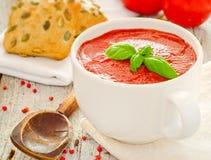 Eigengemaakte tomatensoep Stock Afbeelding