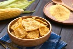 Eigengemaakte tortillaspaanders stock afbeelding