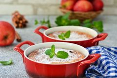 Eigengemaakte vanillebraadpan met ricotta en rozijnen royalty-vrije stock foto's