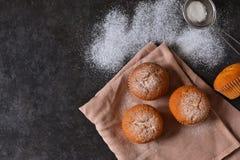 Eigengemaakte vanillemuffin met suikerglazuursuiker Stock Afbeeldingen