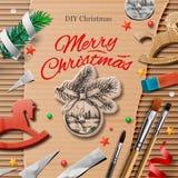 Eigengemaakte verpakte Kerstmis stelt met kunst en ambachtelementen voor Stock Foto