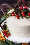 Eigengemaakte witte room naakte die cake met witte room, kegel wordt verfraaid Stock Afbeelding