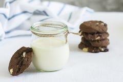Eigengemaakte yoghurt in een glaskruiken en chocoladekoekjes Royalty-vrije Stock Afbeelding