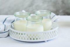 Eigengemaakte yoghurt in glaskruiken Stock Afbeeldingen