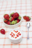 Eigengemaakte Yoghurt met Aardbeien Stock Foto's