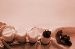Eigengemaakte yoghurt met verse aardbeien De ingredi?nten voor een gezond ontbijt zijn de helften van aardbeien, okkernoten en yo stock fotografie
