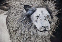 Eigenhändig malendes Löwehauptporträt | Tiergesichtsschwarzweiss-Kunstillustration Lizenzfreies Stockbild