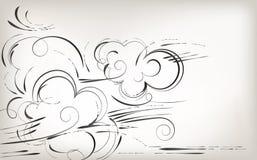 Eigenhändig zeichnen, Bürstennatur und Anlagen, Schwarzweiss-Hintergrund stock abbildung