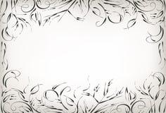 Eigenhändig zeichnen, Bürstennatur und Anlagen, Schwarzweiss-Hintergrund vektor abbildung