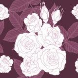 Eigenhändig zeichnendes Rosen-Muster Stockbilder