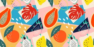 Eigentijds abstract bloemen naadloos patroon Moderne exotische tropische vruchten en installaties Vector gekleurd ontwerp vector illustratie