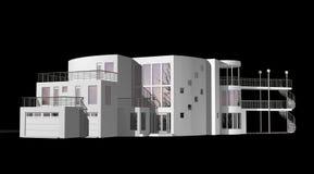 Eigentijds die 3D Huis op zwarte wordt geïsoleerd royalty-vrije illustratie