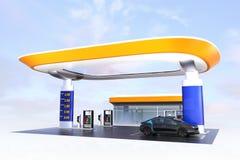 Eigentijds EV-het laden post en benzinestationontwerp voor nieuw energievoorzieningsconcept stock illustratie