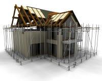 Eigentijds huis in aanbouw Stock Afbeelding