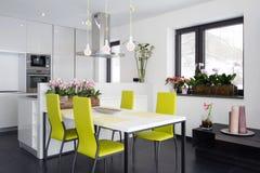 Eigentijds keukenbinnenland Stock Foto