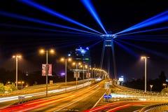 Eigentijds kunstfestival van lichten in Bratislava, Slowakije Royalty-vrije Stock Afbeelding