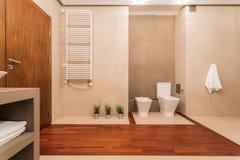 Eigentijds toilet met houten elementen Stock Foto's