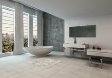 Eigentijdse badkamers met stadsmeningen stock illustratie