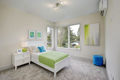 Eigentijdse groene slaapkamer stock afbeelding afbeelding