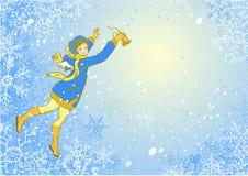 Eigentijdse geklede meisje-engel met in hand klok. Stock Foto's
