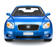 Eigentijdse Glanzende Blauwe Sedanauto stock afbeelding