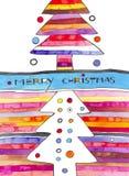 Eigentijdse Kerstkaart Stock Foto's