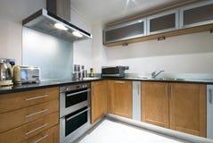Eigentijdse keuken met moderne toestellen royalty-vrije stock afbeelding